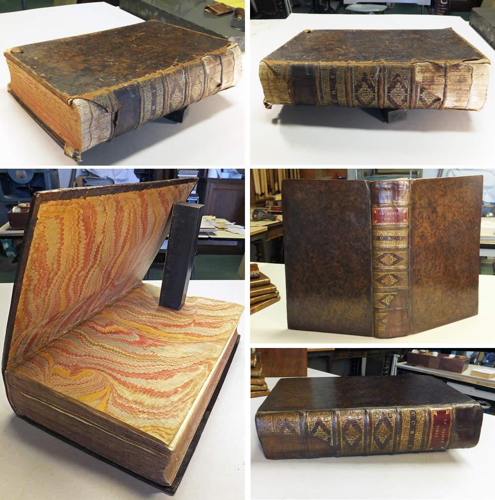 Conservation et restauration de la couvrure d'un livre ancien du 17ème siècle
