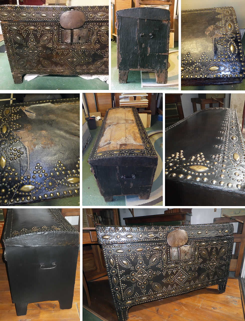 Les étapes de la restauration d'une malle du 17ème siècle