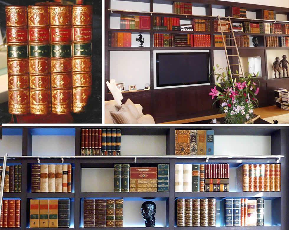 Faux livres décoratifs pour décor de bibliothèque