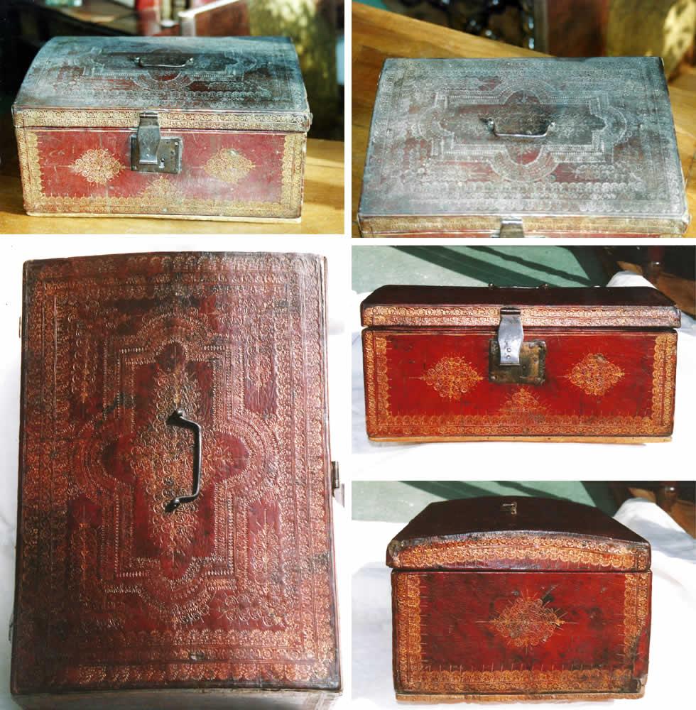Restauration du cuir et patine d'un coffret ancien