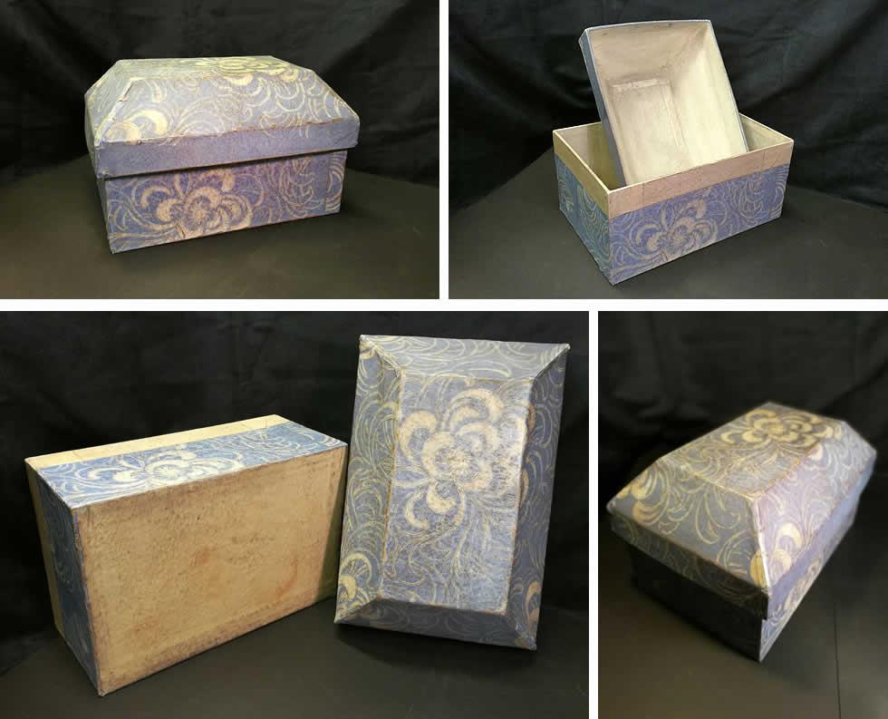 Réédition de boite ancienne en papier dominoté
