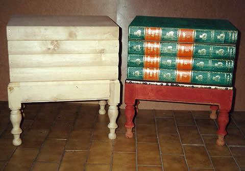 Réédition meuble de commodité faux dos de livres