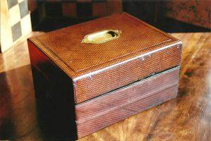 Boite écritoire ancienne en cuir