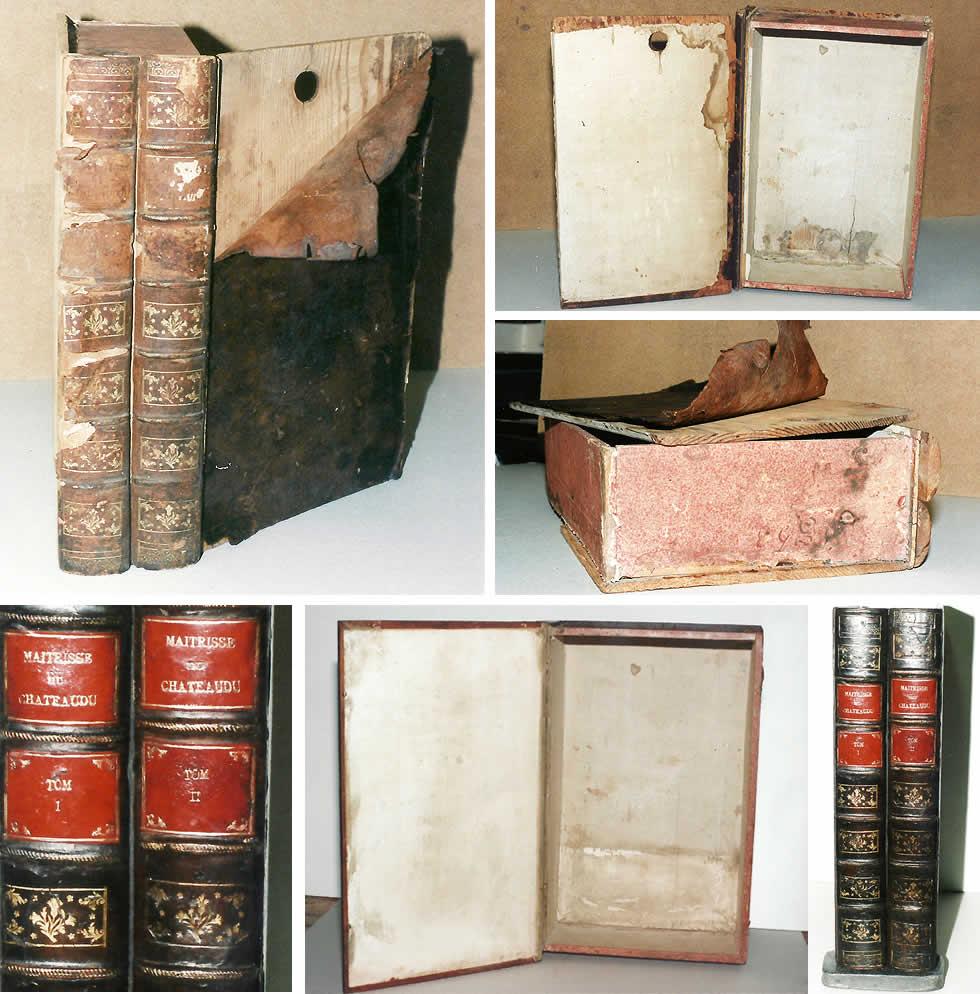 Restauration d'une boite en faux dos de livres