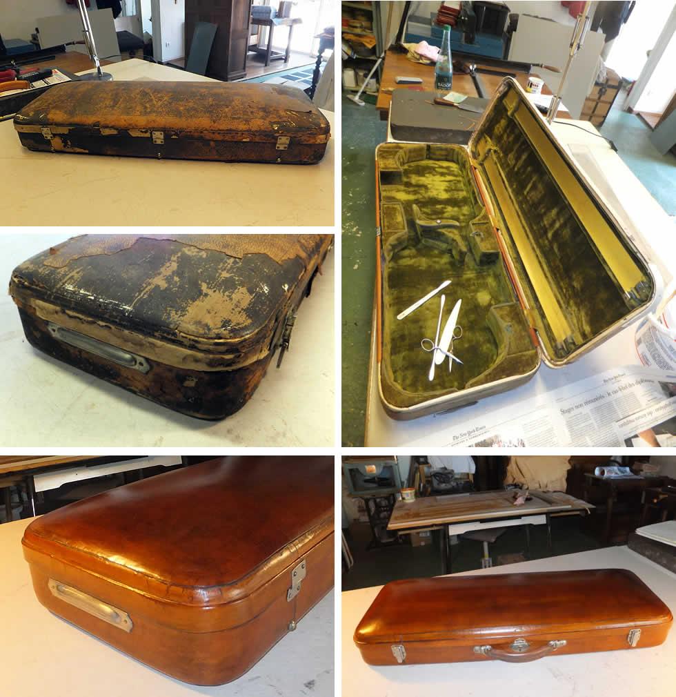 Restauration d'un étui à violon gainé de cuir