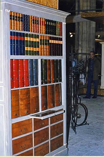 Bibliothèque murale décorée de panneaux de faux livres