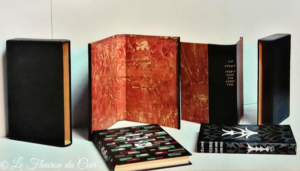 Chemises et étuis plein cuir noir pour livres de LF Céline