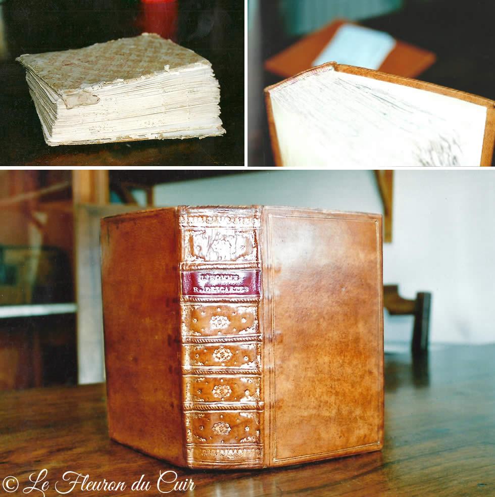 Restauration de la reliure d'un livre ancien du 18ème siècle