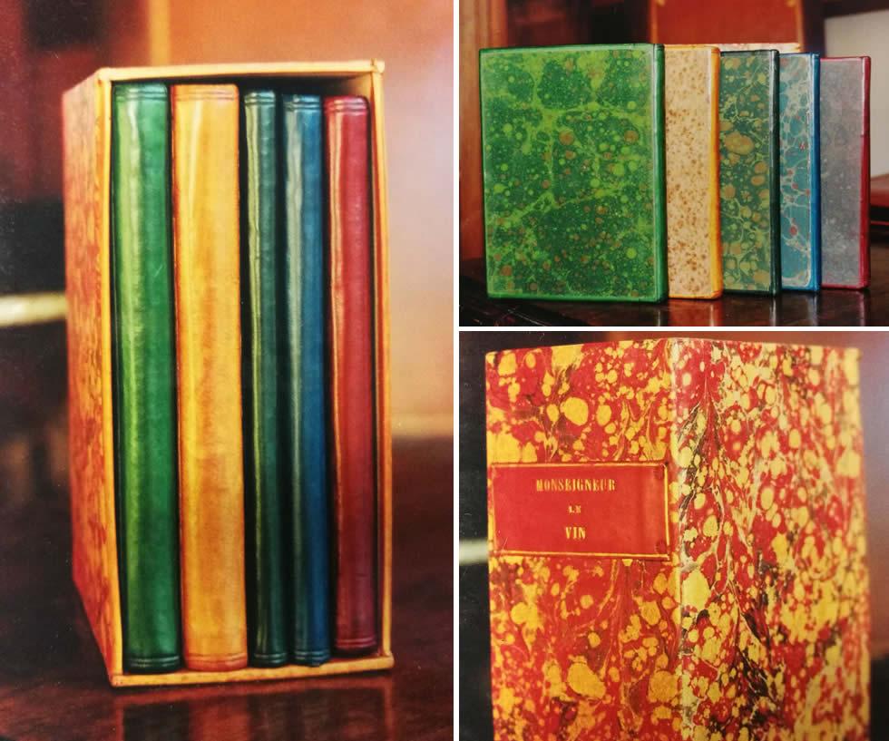 Série de 5 livres reliés en plein cuir basane