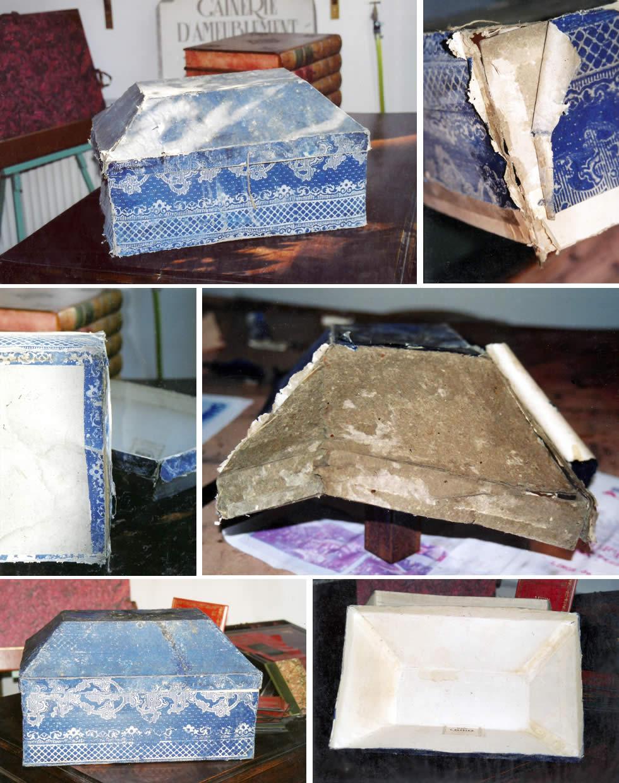 Restauration d'une boite ancienne en papier dominoté