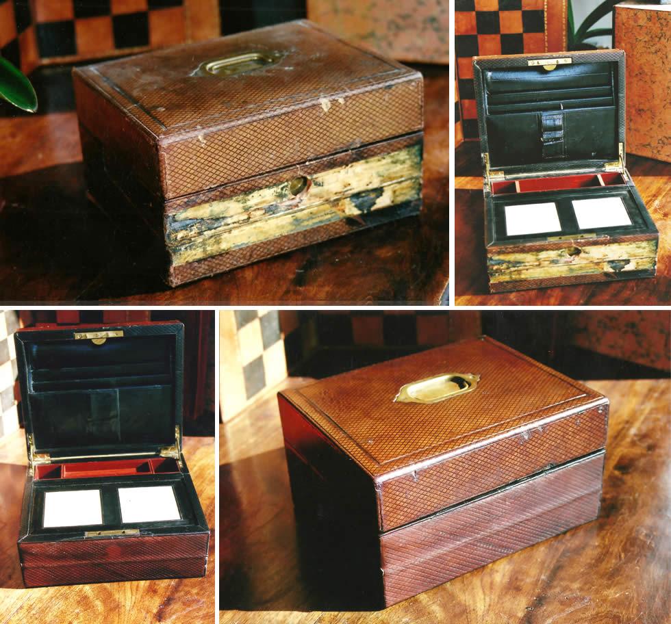 Restauration d'une boite écritoire en cuir