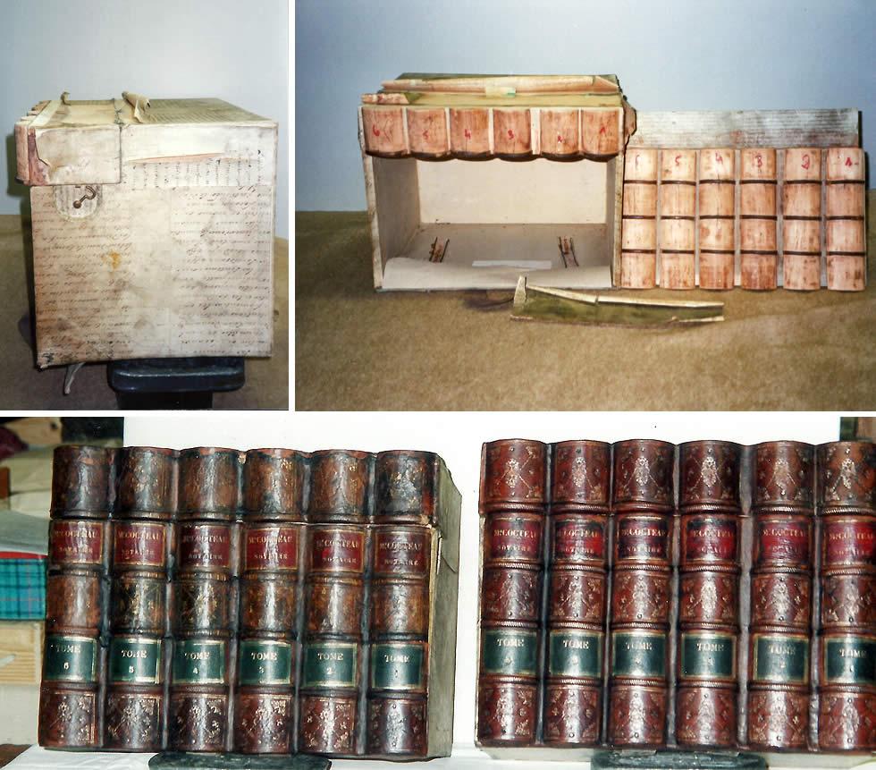Restauration de boites de notaires en faux dos de livres