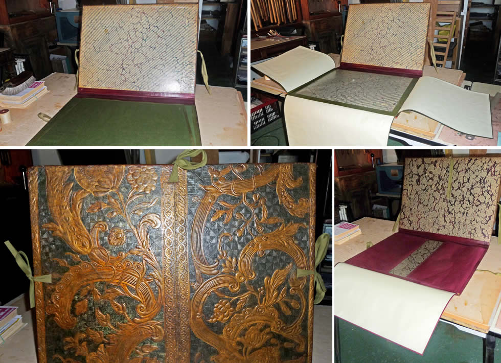 restauration de cartons dessin 18e en cuir de cordoue le fleuron du cuir. Black Bedroom Furniture Sets. Home Design Ideas