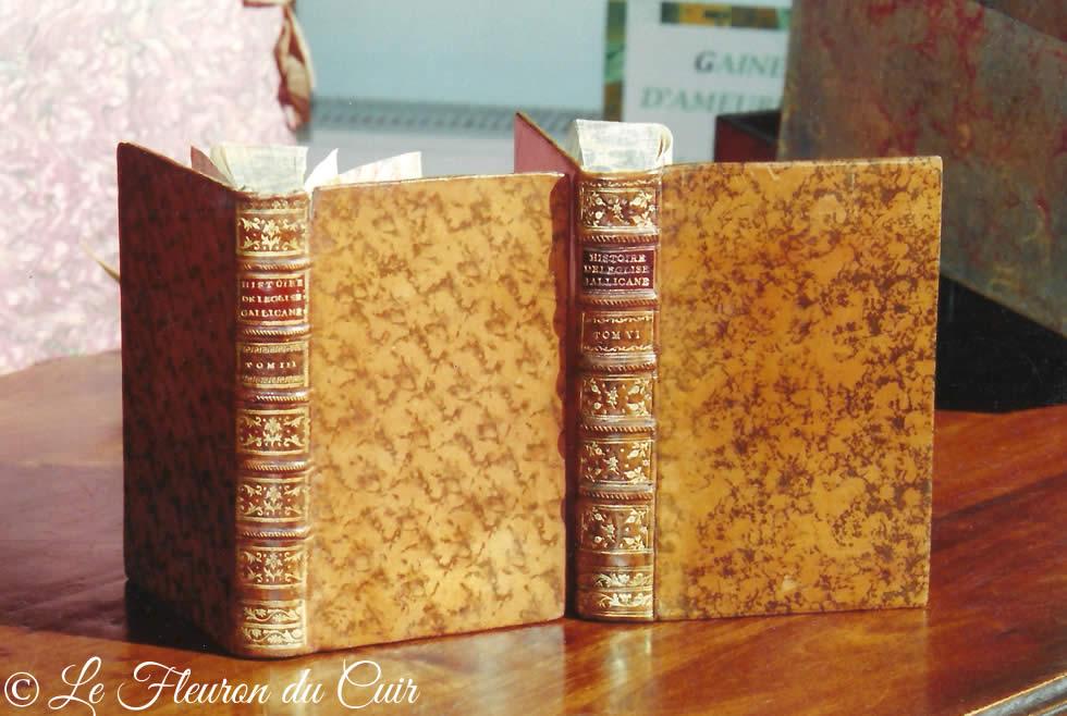 Restauration de la couvrure d'un livre ancien, patine du cuir et dorure