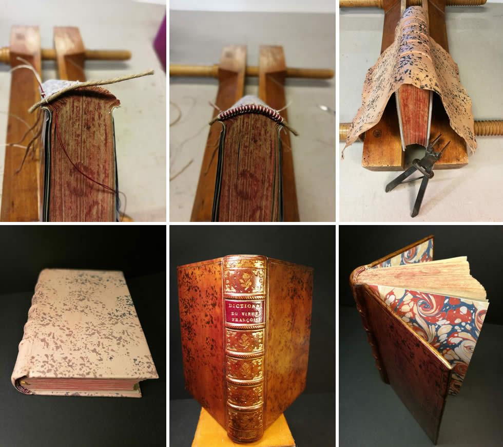 Reliure,, patine du cuir et dorure d'un dictionnaire de vieux français