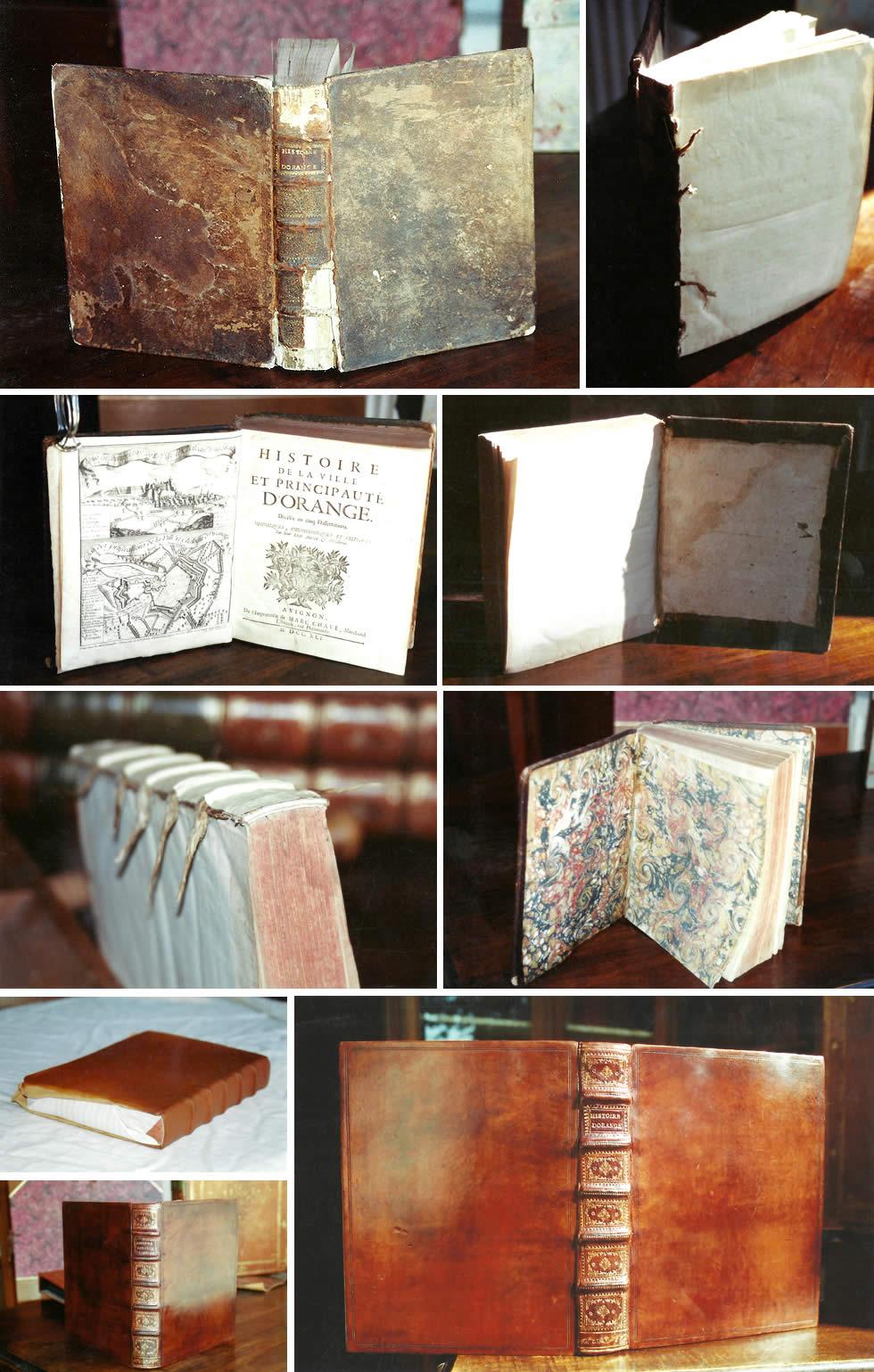 Restauration d'un livre ancien du 18ème siècle, reliure, couvrure, patine et dorure