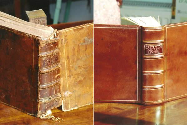 Restauration avant / après d'un livre ancien de médecine