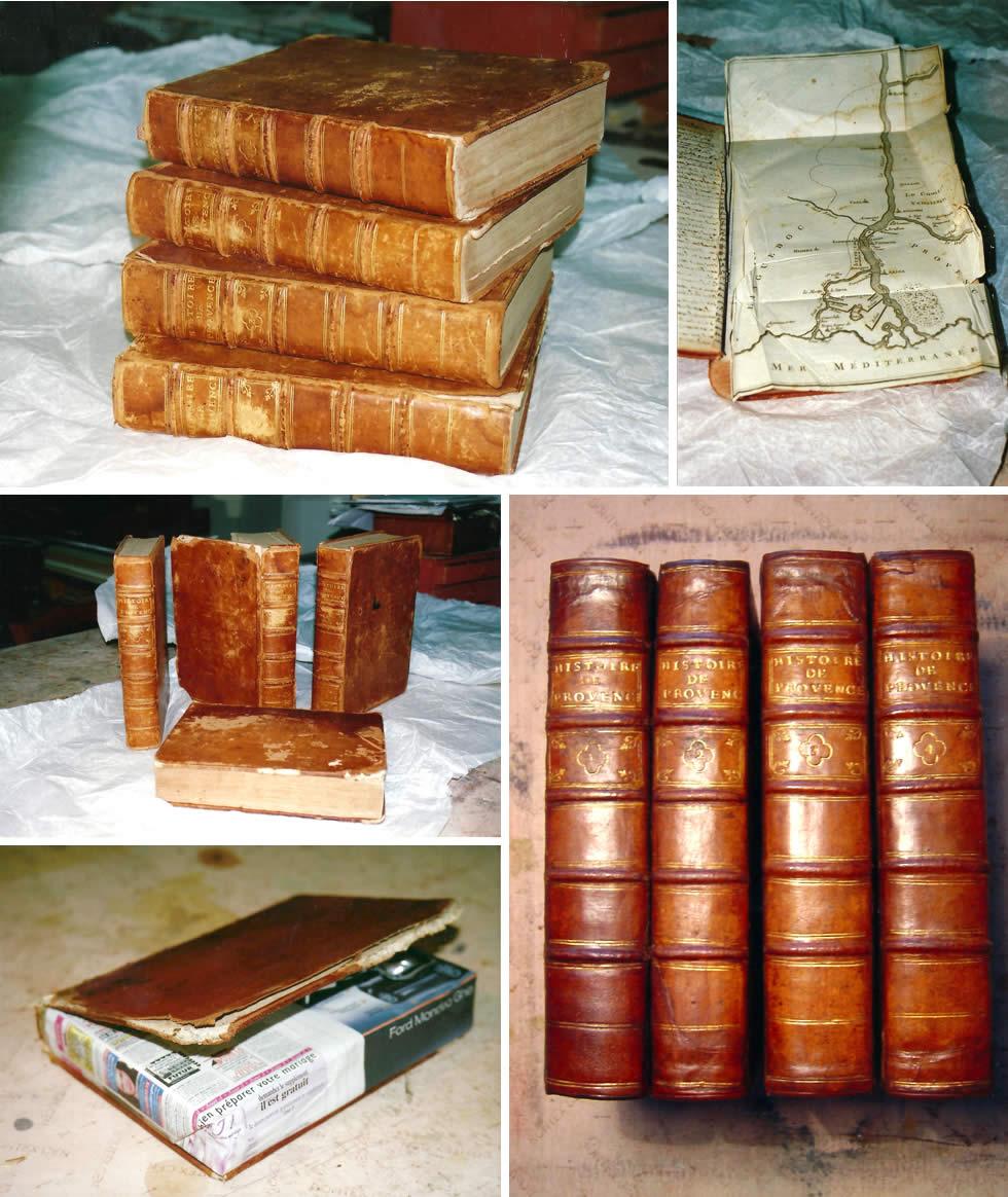 Etapes de la restauration d'un livre ancien plein cuir