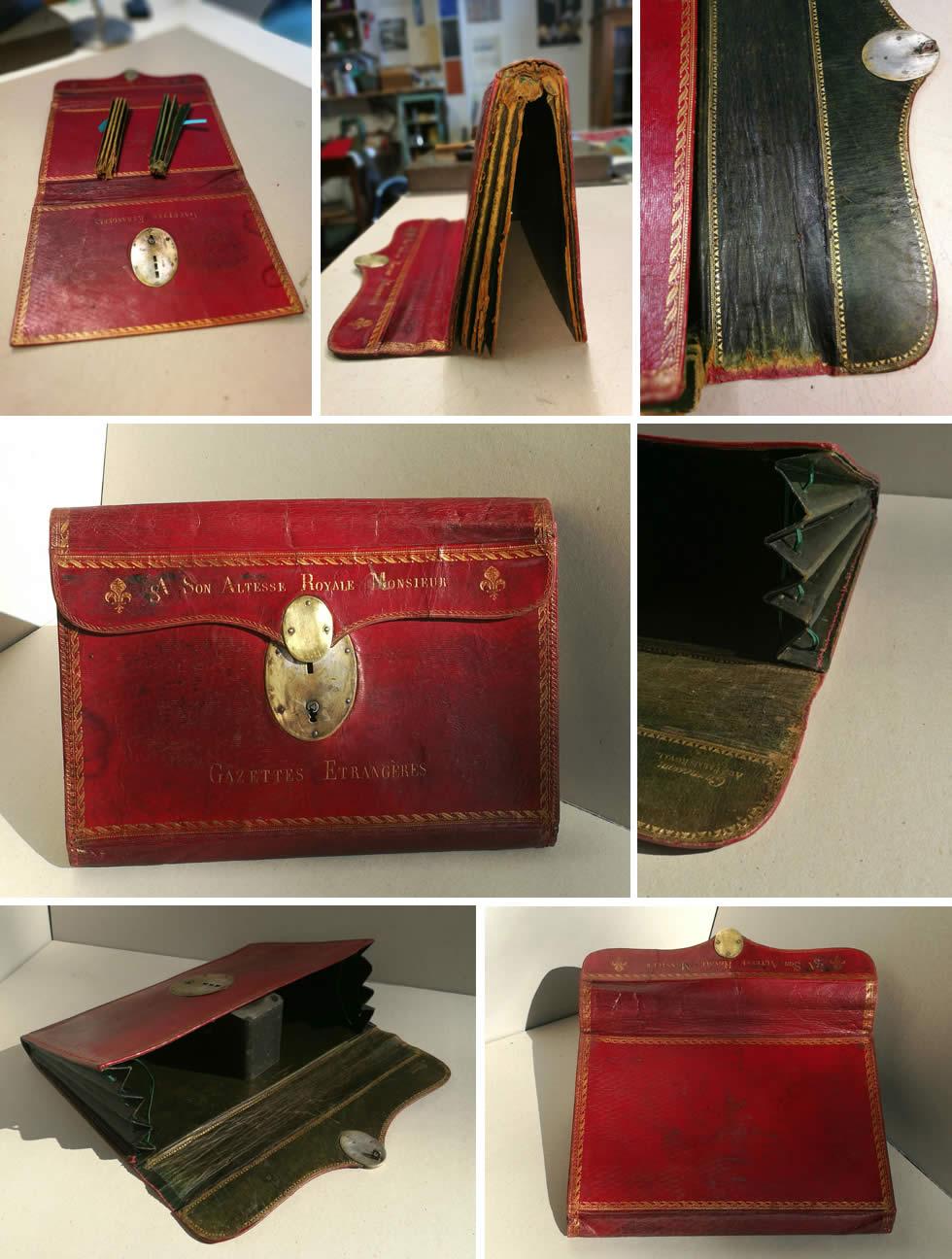Restauration d'un portefeuille en cuir ancien