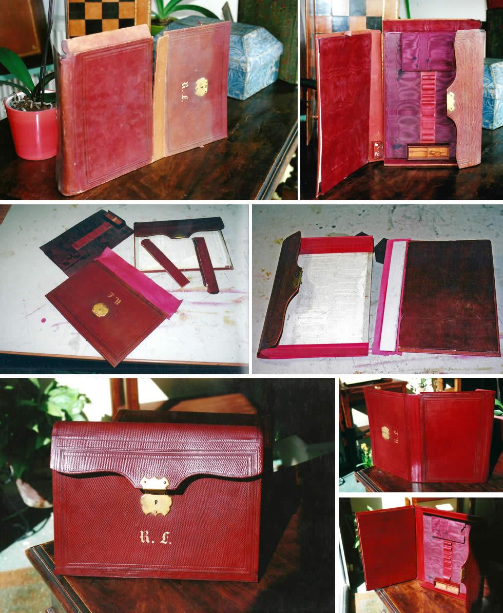 Restauration d'un portefeuille plumier ancien
